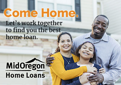 Mid Oregon Home Loans parents with child in front of their home