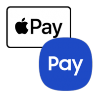 Apple Pay and Samsung Pay logos