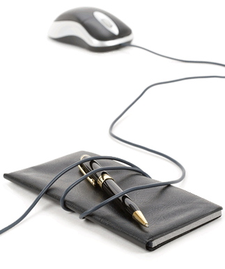 Computer mouse with cord wrapped around a checkbook or notebook and ballpoint pen.